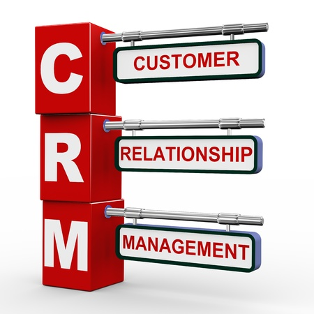 relationship management: 3d illustration of modern roadsign cubes signpost of crm - customer relationship Management
