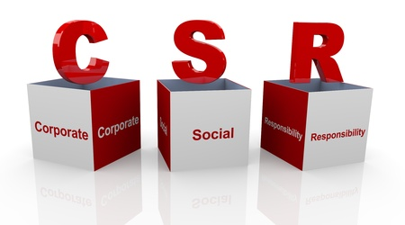 csr: 3d cubos de texto abiertos de palabra de moda RSE - Responsabilidad social de las empresas