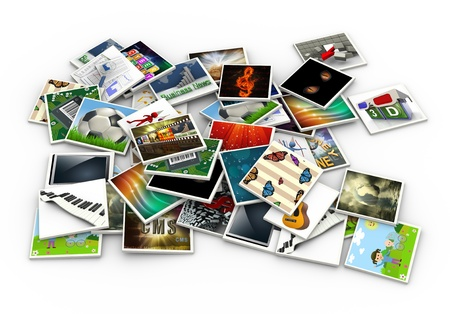 multiple image: 3d render of stack of heap of photos and pictures