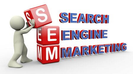 optimizer: 3d person placing sem - search engine marketing cubes. 3d human people character illustration Stock Photo