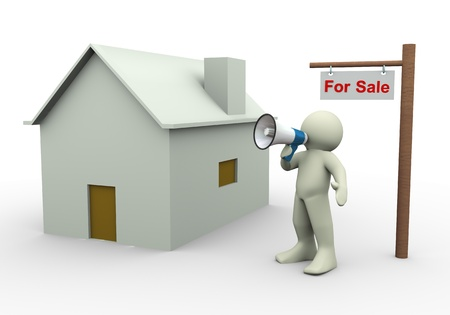 announcing: 3d render of man with megaphone announcing house for sale. Stock Photo