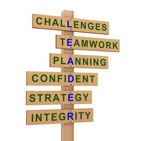 leadership qualities: 3d render of wooden roadsign representing crossword of good quality of successful leader.