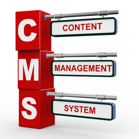 cms: 3d illustration of modern roadsign cubes signpost of cms - Content Management System Stock Photo