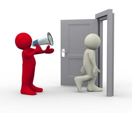 out of doors: 3d render of person with megaphone shouting to his employee and dismiss him  3d human people character illustration