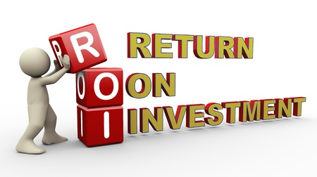 returns: 3d person placing roi - return on investment  3d human people character illustration Stock Photo