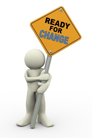 change concept: 3d illustration of person holding road sign of ready for change 3d rendering of people human character