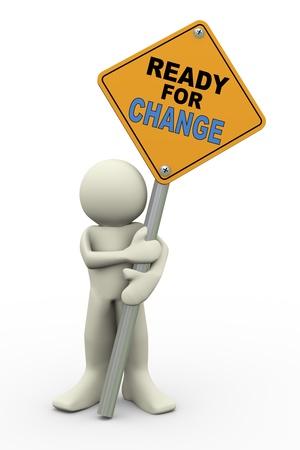 risks ahead: 3d ilustraci�n de la se�al de tr�fico de la persona que ostente la representaci�n listo para el cambio de car�cter de la gente 3d humano