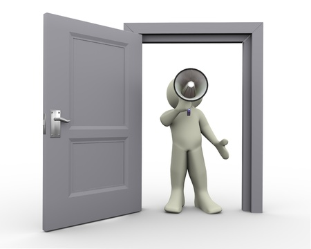 excited man: 3d render of person standing at open door and shouting announcement  in megaphone Stock Photo