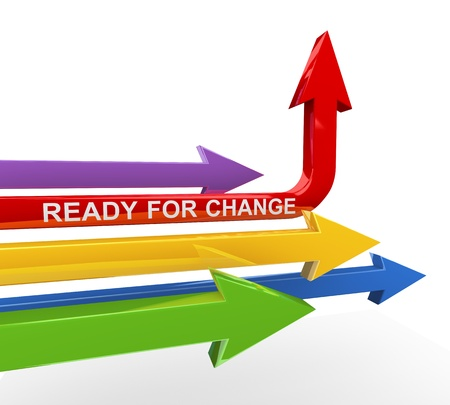 business change: 3d render of various arrows with red unique arrow turning upward with text ready for change  Stock Photo