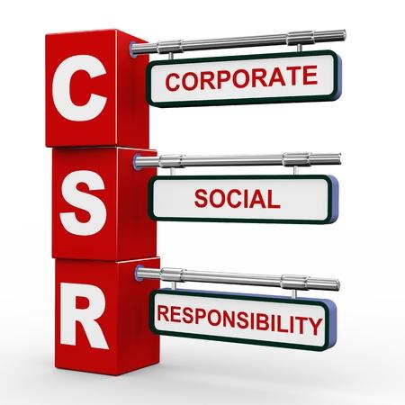 responsabilidad: Ilustración 3d de cubos roadsign moderno poste indicador de la RSE - Responsabilidad Social Corporativa