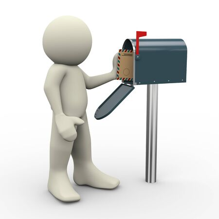 package sending: 3d render of person taking envelope from green mailbox.