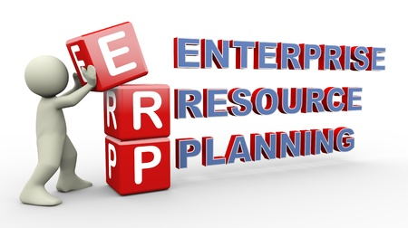 3d person placing erp - enterprise resource planning cubes. 3d human people character illustration Stock Photo