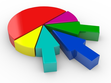 venture: 3d render of different arrow merging and completing pie chart. Concept of business merges and acquisitions