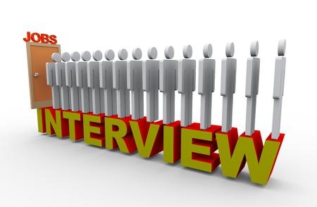 file d attente: 3d illustration de gens en face de la porte en file d'attente pour une entrevue d'emploi. Rendu 3D du caract�re humain.
