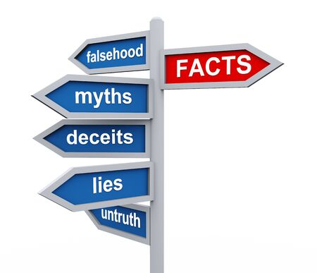 facts: 3d render of directional roadsing of facts vs untruth lies stories myths.