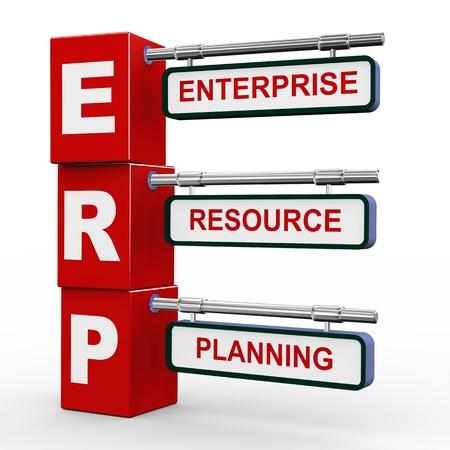 3d illustration of modern roadsign cubes signpost of erp - enterprise resource planning