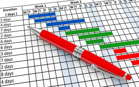 계획: 펜 및 프로젝트 간트 진행 차트 시트의 3d 렌더링 스톡 사진
