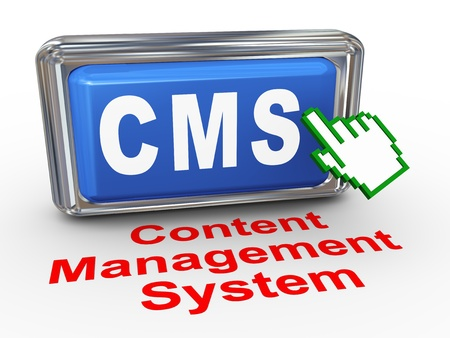 cms: 3d render of hand cursor pointer click on button with phrase cms - content management system Stock Photo