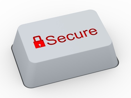 3d render of computer keyboard button with word secure and symbol of padlock photo