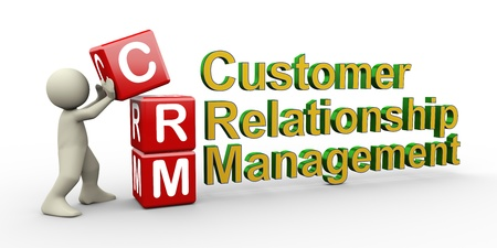 3d render of man placing crm ( customer relationship management ) cubes. photo