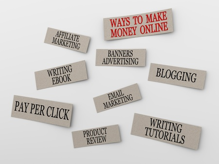 3d render of few ways for earning money online through various method. Stock Photo - 18101646
