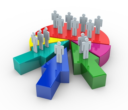 acquisitions: 3d render of people on reflective pie chart. Concept of companies and business merge and acquisitions Stock Photo