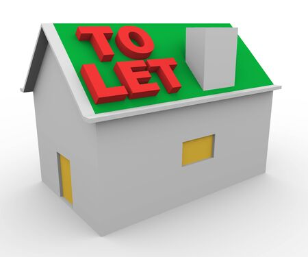 let on: 3d render of house and word to let.