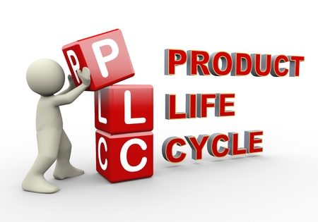 business products: 3d person placing plc product life cycle cubes. 3d human people character illustration Stock Photo