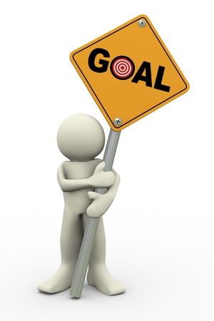 3d illustration of person holding road sign of goal. 3d rendering of people human character Stock Illustration - 18295111