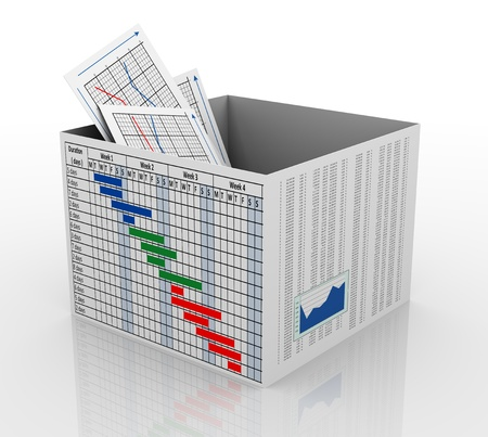 3d render of business graph report in gantt chart and financial sheet box. photo