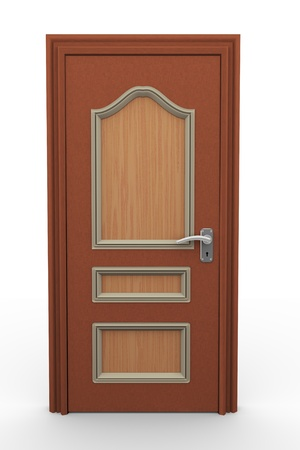 3d render of closed wooden door on white background  photo