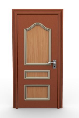 puerta: 3d rinden de puerta de madera cerrada en el fondo blanco Foto de archivo