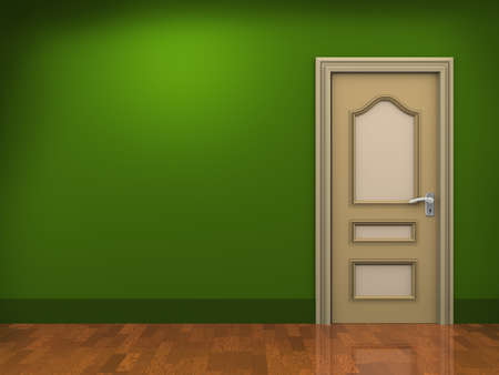 3d illustration of door and empty room  illustration