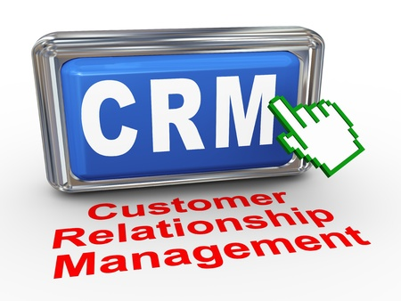 3d render of hand cursor pointer click on button with phrase crm -Customer Relationship Management photo