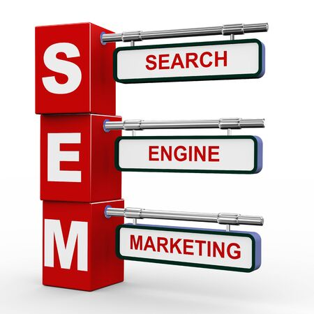 the optimizer: 3d illustration of modern roadsign cubes signpost of sem - search engine marketing