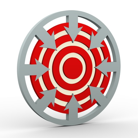setting goal: 3d render of arrows in circular shape pointing to dart target  Concept of setting goal and targets