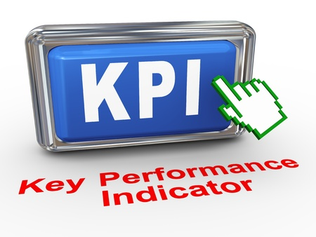 3d render of hand cursor pointer click on button with phrase KPI Key Performance Indicator Stock Photo