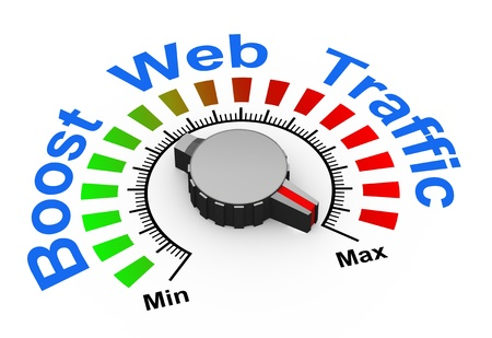 website words: 3d illustration of knob set at maximum for boosting web traffic