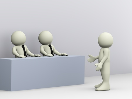 interviewing: 3d illustration of person giving job interview  3d rendering of human character