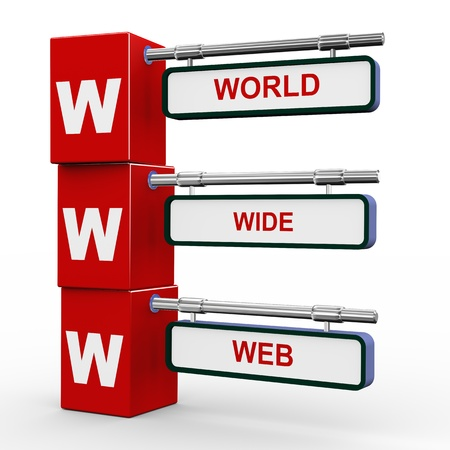 3d illustration of modern roadsign cubes signpost of www - world wide Web Stock Illustration - 18587479