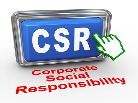 social responsibility: 3d render of hand cursor pointer click on button with phrase csr  corporate social responsibility button