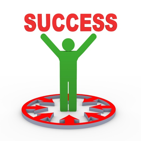 wor: 3d render of man in centre of circular arrow shape holding word success. Concept of successful goal achievement