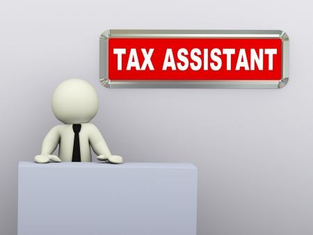 money cartoon: 3d illustration of tax advisor available for service. 3d rendering of human character. Stock Photo