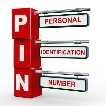 personal identification number: 3d illustration of modern roadsign cubes signpost of pin - personal identification number