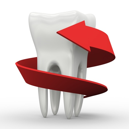 body wrap: 3d illustration of red arrow wrapped around healthy white tooth