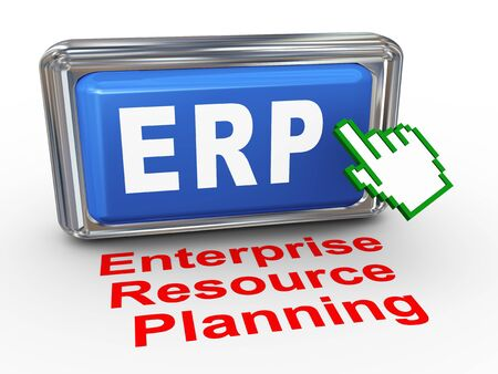 3d render of hand cursor pointer click on button with phrase ERP Enterprise Resource Planning Stock Photo - 18878789