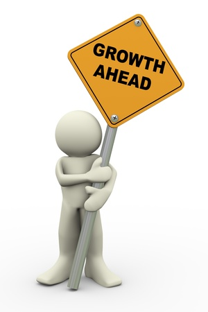 3d illustration of person holding road sign of growth ahead . 3d rendering of people human character. Stock Photo