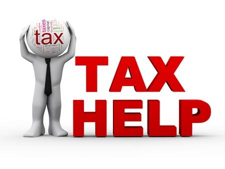 rendement: 3d illustratie van de persoon met fiscale wordcloud hoofd, staande met zin fiscale hulp. 3D-weergave van het menselijk karakter. Stockfoto