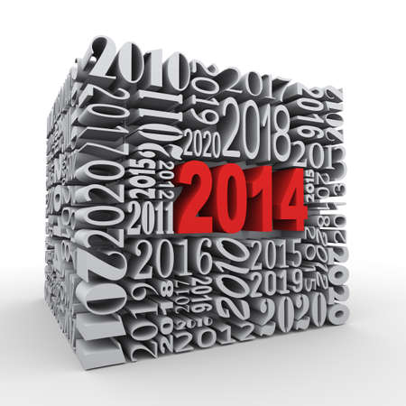 3d render of cube shape created with various year numbers and having one large new year 2014 photo