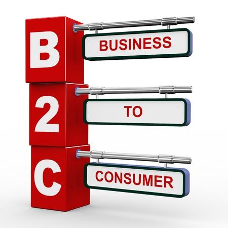 3d illustration of modern roadsign cubes signpost of b2c - business to consumer Stock Illustration - 19052802